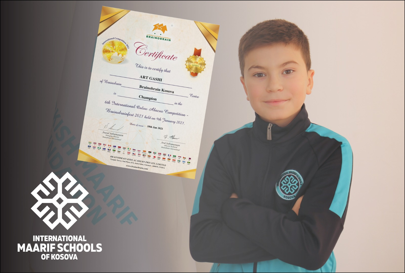 A Maarif Student in Kosovo ranked the First Place in Mental Arithmetic Competition