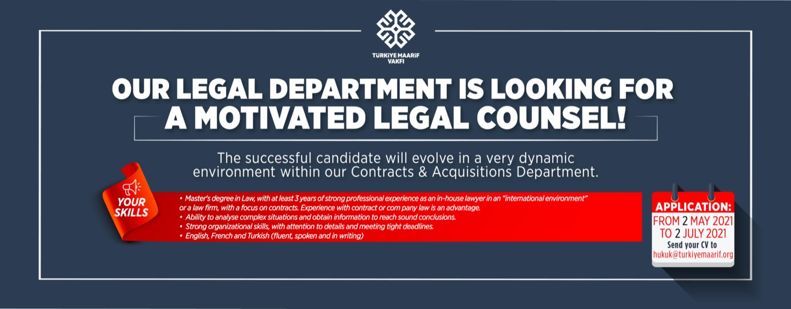 We are looking for a Legal Counsel – Contracts & Acquisitions